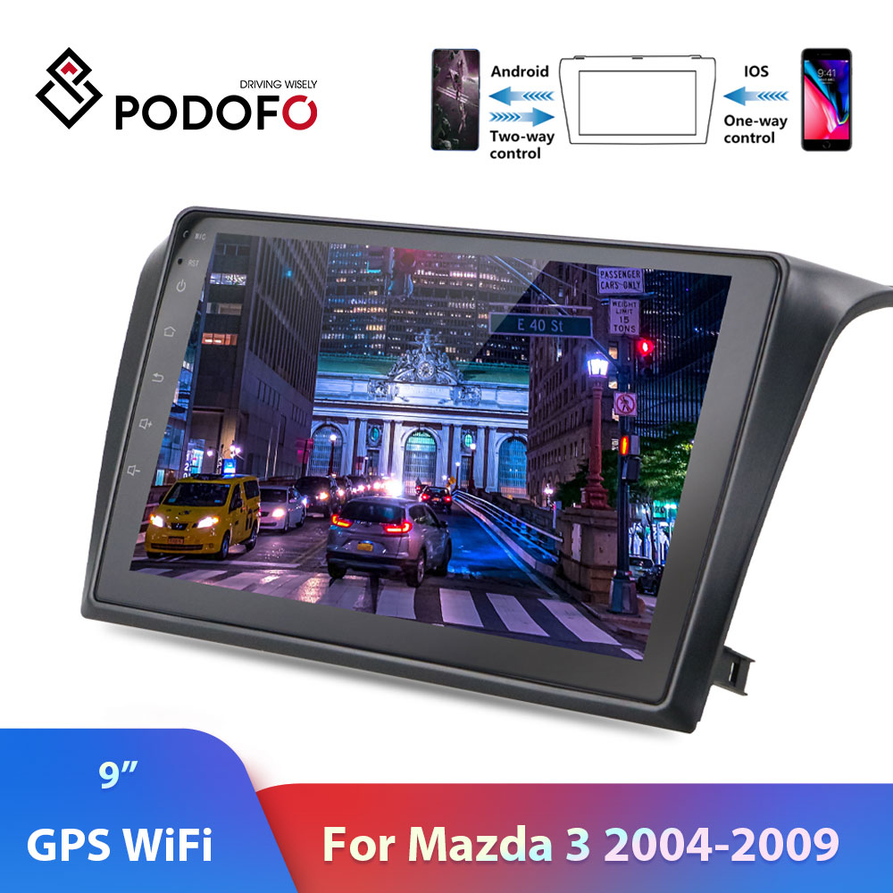 Podofo <font><b>2din</b></font> Car Radio Android 8.1 Autoradio ISO Android Mirrorlink Car Multimedia Player 2 Din For <font><b>Mazda</b></font> <font><b>3</b></font> 2004-2009 Car Stereo image