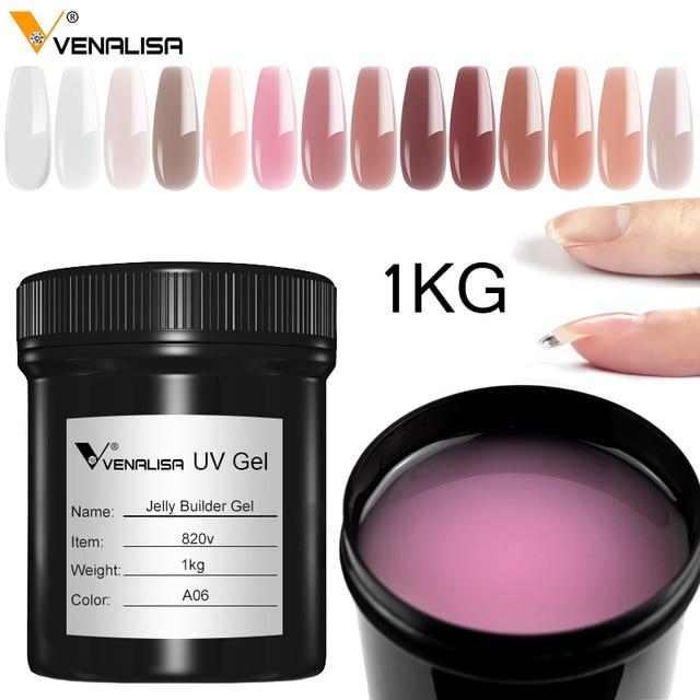 Venalisa dostaw Venalisa 1kg nail art przezroczysty biały różowy kolor kamuflażu uv/led twarde galaretki builder paznokci przedłużyć żele