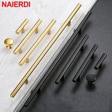 NAIERDI maniglie per armadio dritte in oro nero spazzolato manopole maniglie per porte da cucina in oro nero spazzolato in acciaio inossidabile