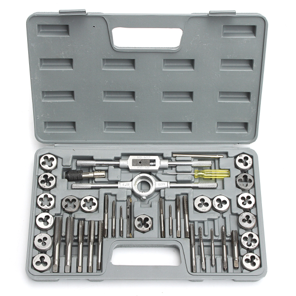 HD Pro 40pcs/set Tap Die Metric Tapping Threading Chasing Case Adjustable Holder Thread Gauge Wrench Tools Kit
