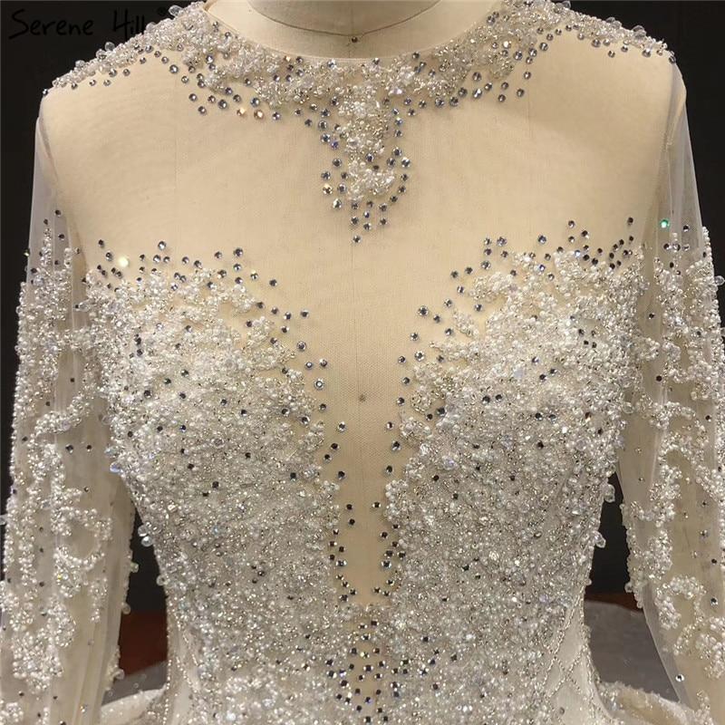 Image 3 - Ivory High end Sparkle Crystal Beading Wedding Dresses Long Sleeves Sexy Luxury Bridal Gowns HA2271 Custom MadeWedding Dresses   -