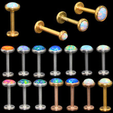 3Pcs Mix Sizes Internal Thread Opal Stone Labret Monroe Lip Stud Ring Opal Ear Cartilage Tragus Helix Earring Piercing Jewelry(China)