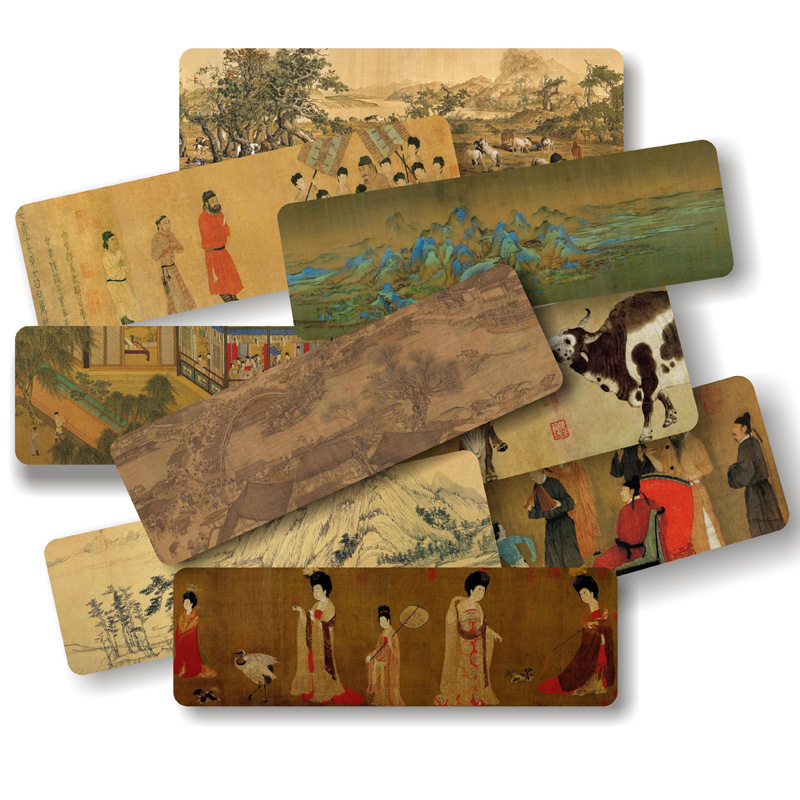 10 Pcs/Set Chinese Famous Paintings Paper Bookmarks Ancient Style Book Holder Message Card Gift Stationery