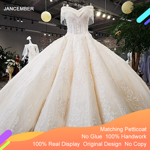 Image 1 - LS65392 ivory off shoulder sweetheart ball gown lace up back hand work wedding dresses from china robe blanche mariage