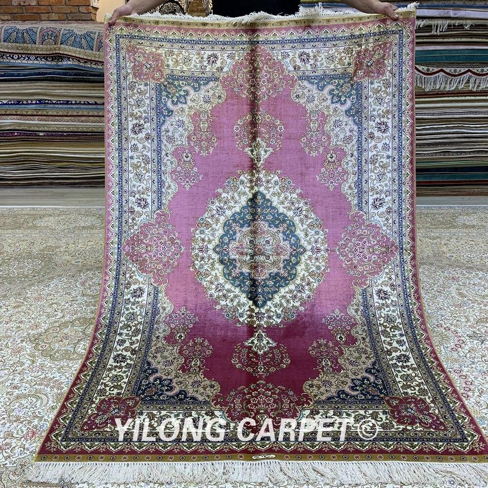 Yilong 4'x6 'tapis rouge persan fait main turc Antique Oriental tapis de soie (ZQG227A)