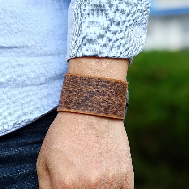 Punk Design Genuine Men's Leather Bracelet Wide Adjustable Wrap Wristband Bangles Bracelet Men Jewelry