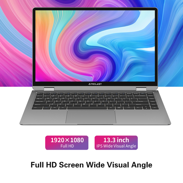Teclast F6 Plus Laptop 13.3 Inch Notebook 8GB RAM 256GB ROM 360 Degree Rotation 1920×1080 Full HD Windows 10 OS 38000mWh Battery