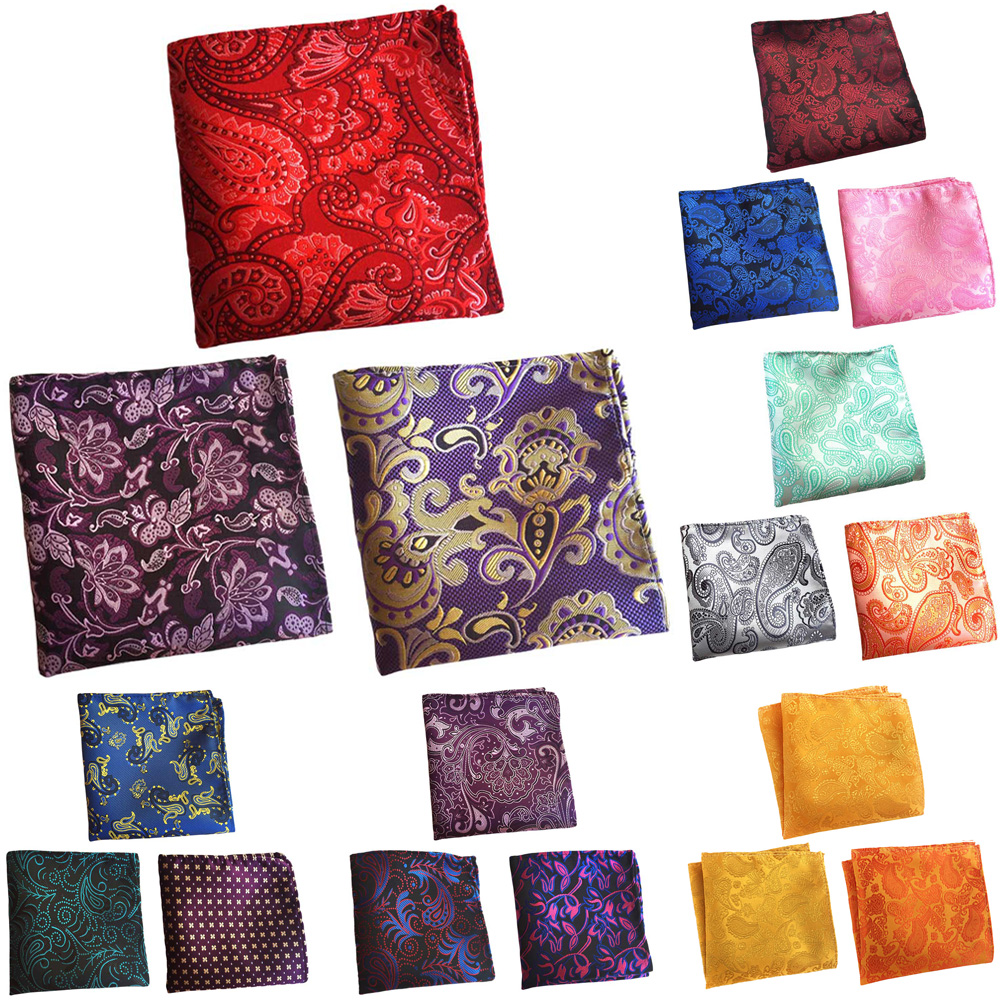 3 Packs Men's Classic Floral Paisley Pocket Square Wedding Party Handkerchief BWTHZ0368