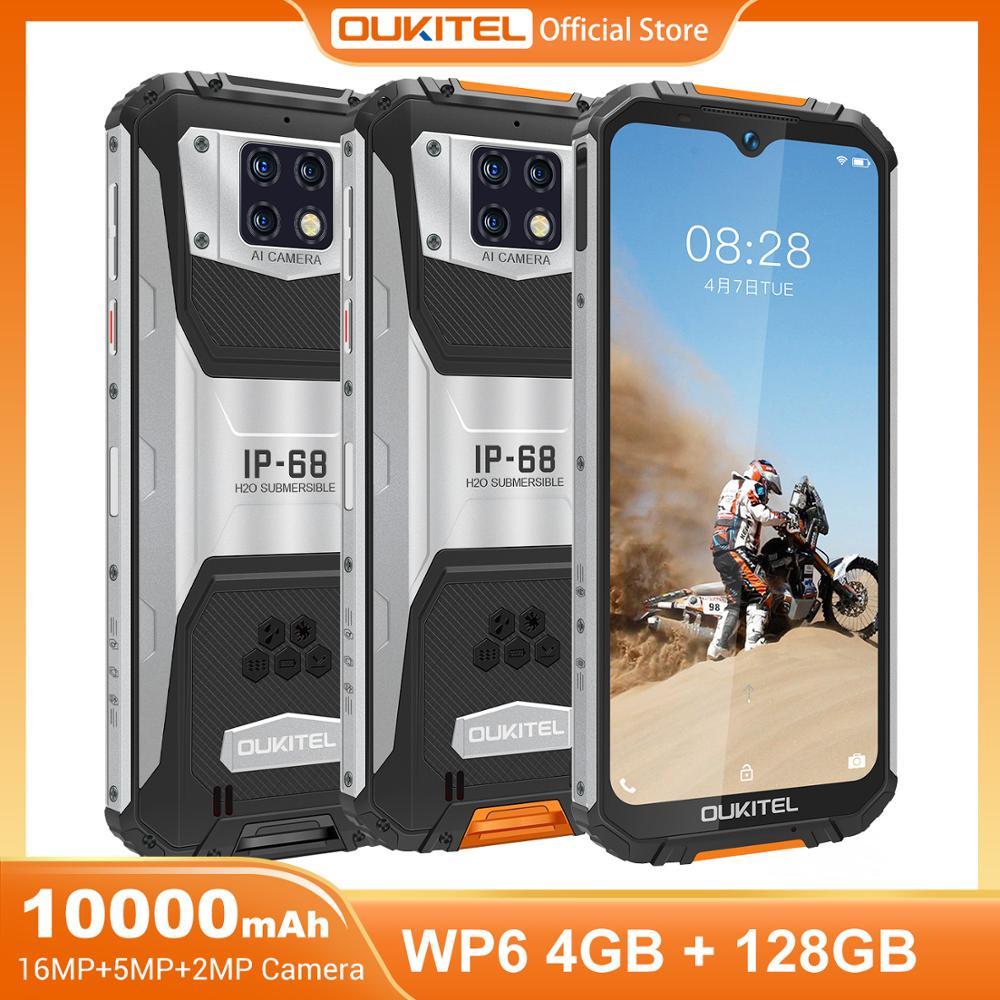 OUKITEL WP6 10000mAh 4GB 128GB 6.3 FHD + IP68 16MP Triplo Núcleo octa Telefone Celular À Prova D Água câmeras do Smartphone Robusto
