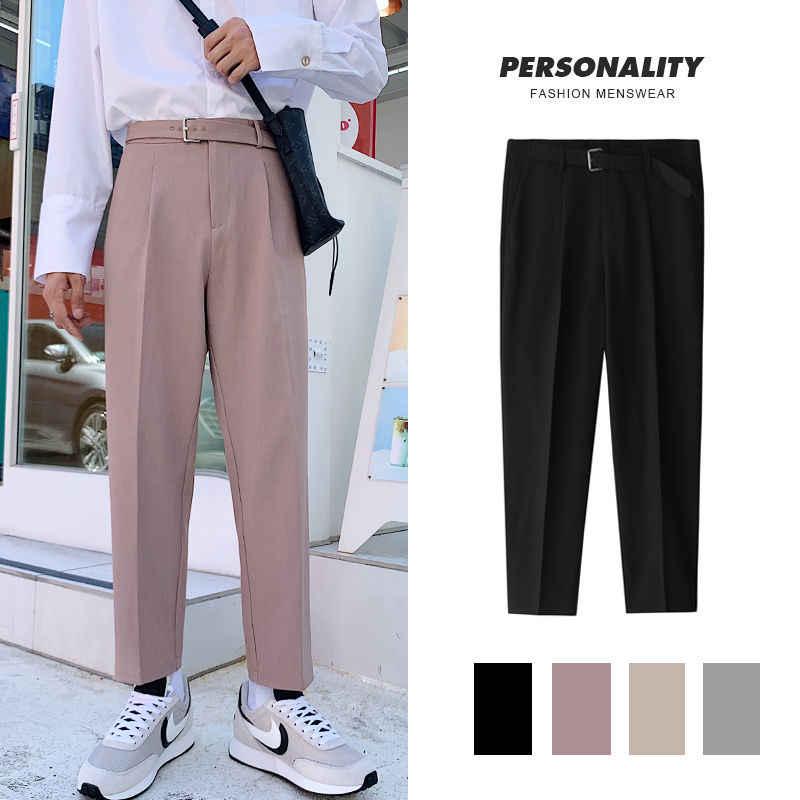 Pantalones Rectos De Estilo Coreano Para Hombre Pantalon De Vestir Informal De Negocios Holgado Salvaje Pantalones Informales Aliexpress