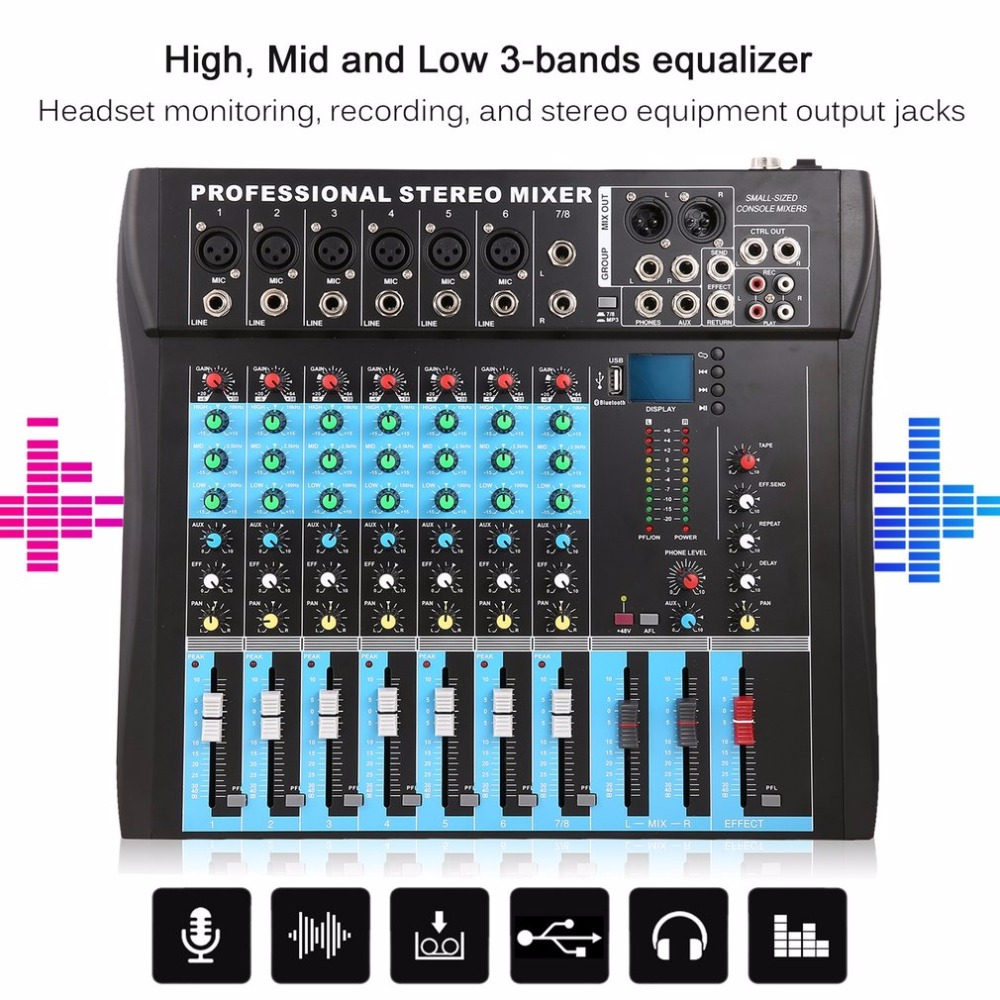CT8 8 Channel Professional Stereo Mixer Live USB Studio Audio Sound Console Network Anchor Device Vocal Effect Processor - 3