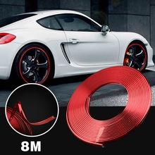 pcmos Universal Red Car Wheel Hub Rim Trim Tire Ring Guard Rubber Strip Protector Decor Exterior