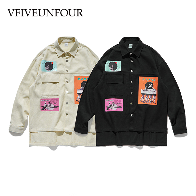 VFIVEUNFOUR Hot Sale Oversized Fit Graphic Printing Long Sleeve Shirts Autumn 2019 Hipster Hip Hop Tops Male Loose Sweatshirt