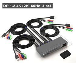 Conmutador KVM de 4 puertos Displayport, conmutador DP KVM con resolución de Audio y micrófono de hasta 4K x 2K a 60Hz 4:4:4