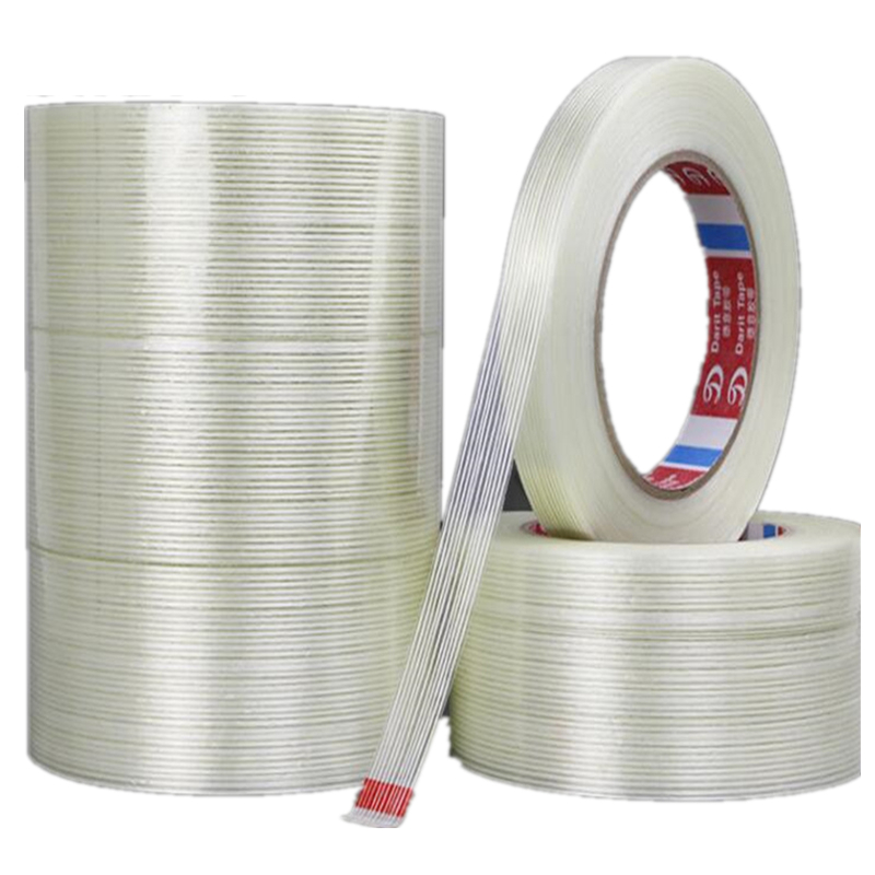 Купить с кэшбэком SZBFT 1pcs 5-15mm*50M Strong glass fiber tape  transparent striped single side adhesive tape free shipping