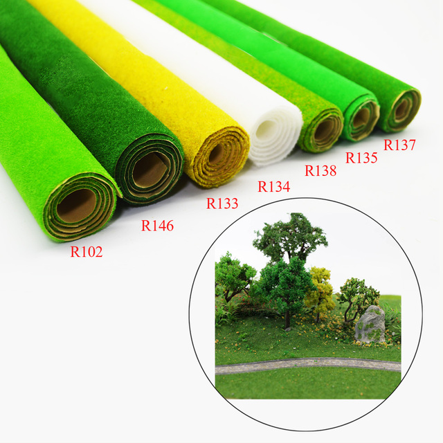 0.5x2.5m Scale 2pcs HO O N Model Carpet Grass Mat For Architectural Making Scenery Train Building Road Landscape Layout Diorama