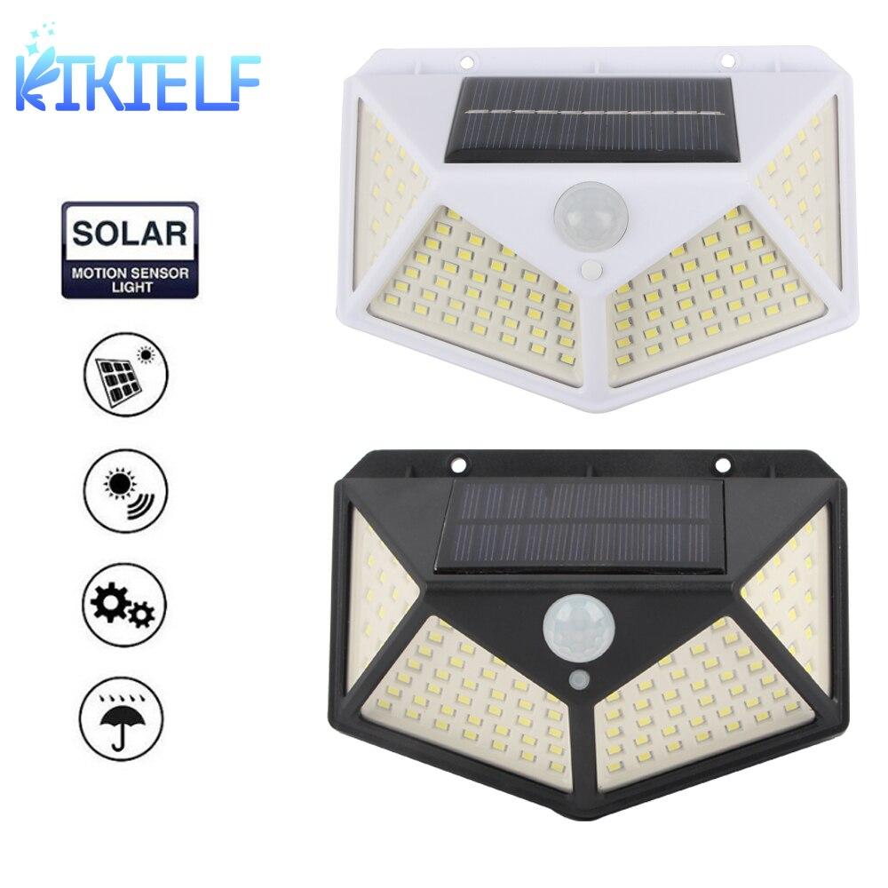 100 LED Solar Light Outdoor Solar Lamp PIR Motion Sensor Wall Lights Waterproof Solar Powered Sunlight 4 Mode for Garden Decora