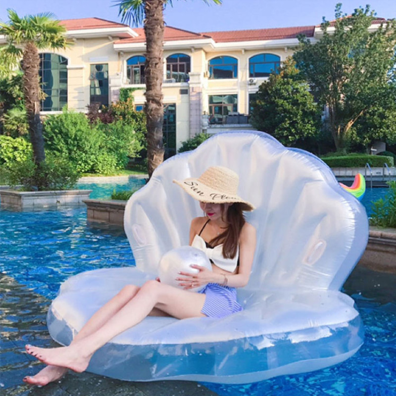 White Inflatable Pearl Shell Floating Island Mat,swimming Pool Floats,summer Festival Party Floating For Adults And Kids