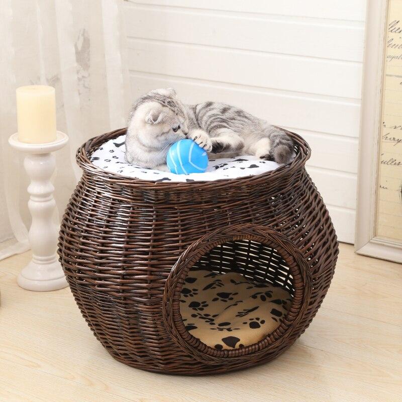 15% ручной ротанговый домик для кошек, Натуральное Плетение из прутьев, кошачье гнездо, аксессуары для кошек, прочный зеленый с толстым ковриком для больших домашних животных