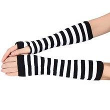 Stripe Women Knitted Free Size Winter gloves Wrist Arm Hand Warmer Knitted Long