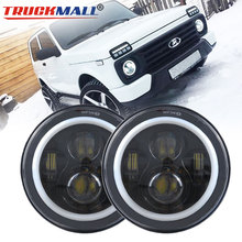 "7 ""Drl Led H4 Om H13 Uaz Koplamp Dagrijverlichting Koplamp Halo Ring Angel Eye Richtingaanwijzer Voor lada 4X4 Urban Niva"