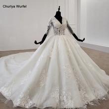 HTL1288 Wedding Dresses Illusion Back Half Zip Lace Bride Dress Sequin V Neck Applique Sleeve Ball Gown ????????? ??????
