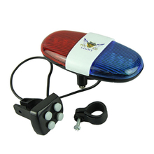 Bicycle Cycling 4 Tones 6 LED Electronic Warning Lights Siren Horn Beeper Bell