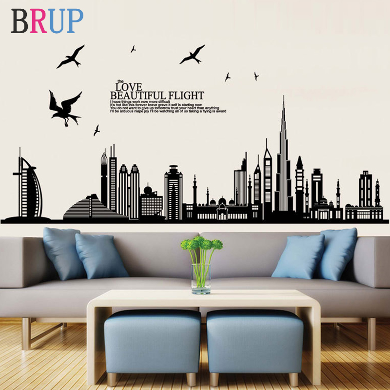 170*85cm Dubai City Building Wall Sticker for Kids Rooms High Building Decorative Vinyls for Walls Room Decoration Sticker Mural 1