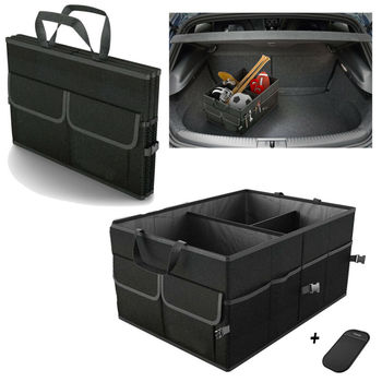 Newest Black Trunk Cargo Organizer Folding Caddy Storage Collapse Bag Bin for Car Truck SUV Useful Storage Box Multipurpose image