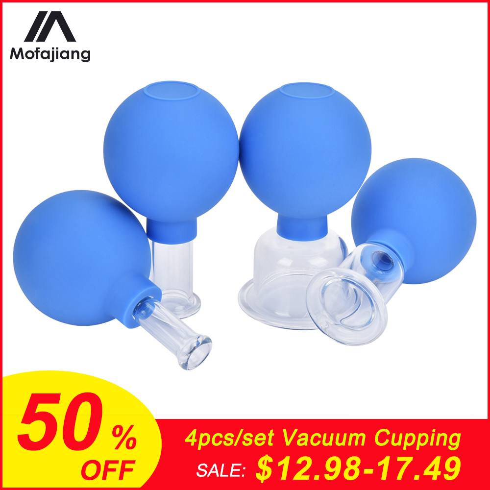 4pcs Vacuum Cupping Cups Set Rubber Head Glass Anti Cellulite Massage Chinese Therapy Face Cupping Set Cans For Health Massage