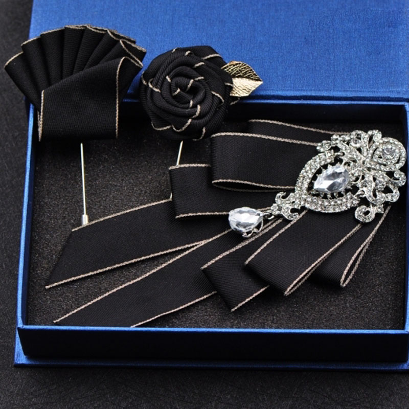 High-end Fashion New Diamond Bow Tie Groomsmen Wedding Collar Accessories Ties Rose Brooch Pocket Towel Square Set Gifts For Men