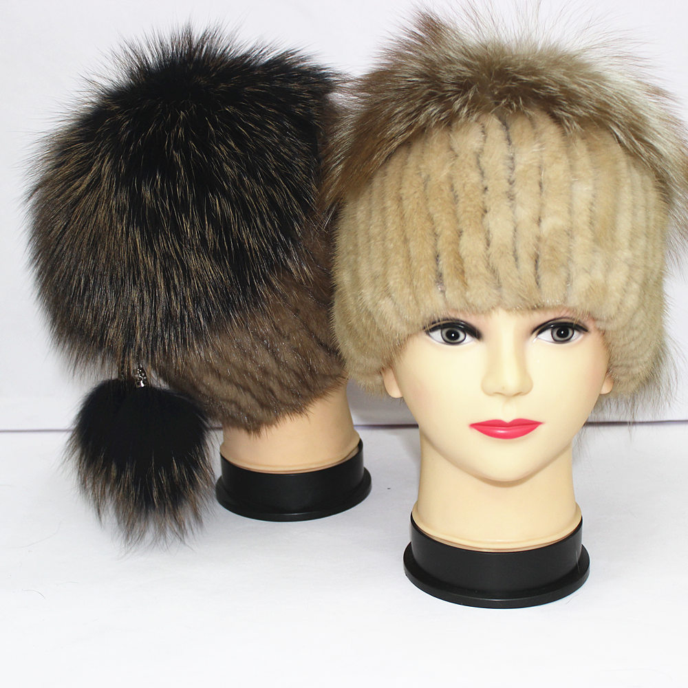 Real mink  fur hat Woman Boutique hat Natural fur lady fox hat female