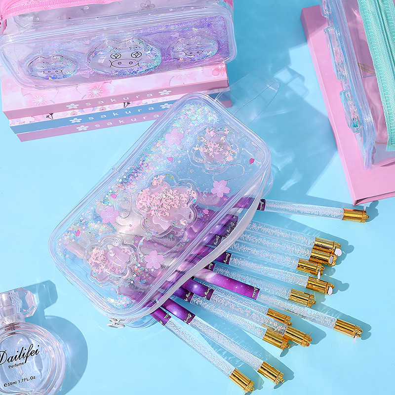 Transparent Quicksand Cosmetic Bag PVC Travel Organizer Clear Makeup Brush Storage Box Beauty Make Up Bags For Girls