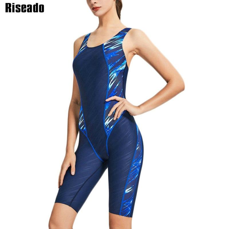 Riseado One Piece Swimsuit 2020 Sport Swimwear Women Racer Back Competitive Swim Wear Boyleg Patchwork Swimming Suits for Women(China)