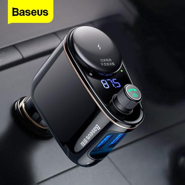 Baseus USB Chargerเครื่องส่งสัญญาณFMสำหรับiPhone Xiaomi AUX MP3 FM Modulator Dual USBรถชาร์จสำหรับโทรศัพท์มือถือ