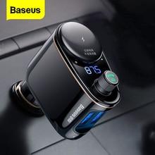 Baseus автомобильное USB зарядное устройство Автомобильный fm передатчик для iPhone Xiaomi AUX MP3 плеер FM модулятор двойной USB зарядка для автомобиля на мобильный телефон