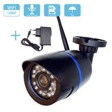 Câmera de vigilância externa à prova dágua, 1080p hd 2mp wi fi áudio ip sem fio 720p externa bala cctv visão noturna câmera fotográfica para câmera