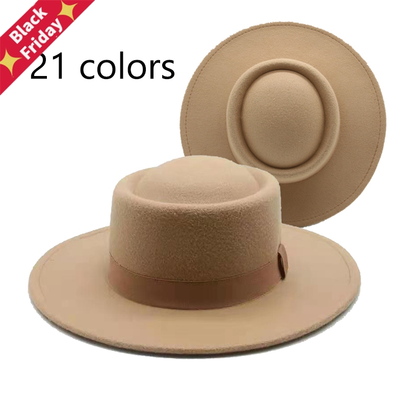 Panama For Women Ribbon Band Belt Classic Dress Formal Women Hats Wide Brim Pork Pie Round Top White Fedora Felted Winter Hats