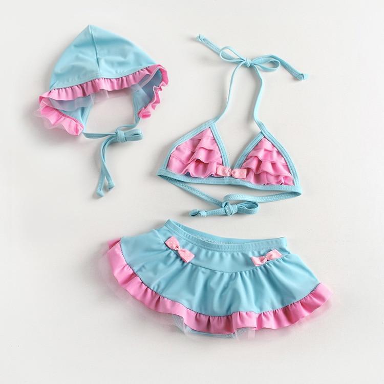 New Style GIRL'S Swimsuit Children Split Type Bikini KID'S Swimwear Baby Swimwear BABY'S Bathing Suit With Swim Cap