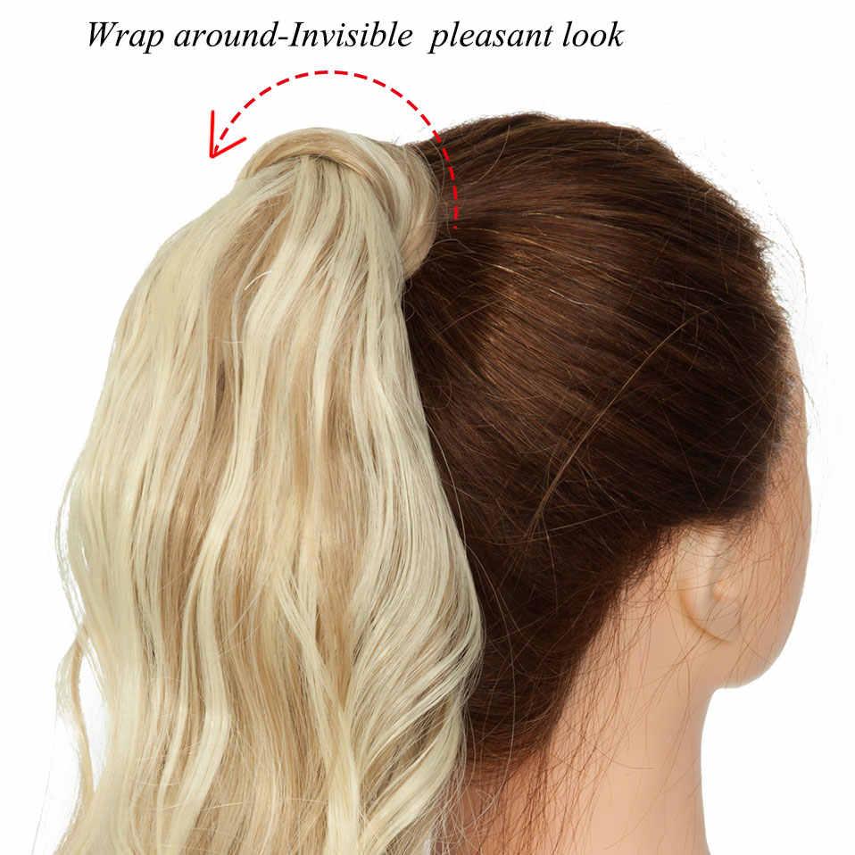 S-noilite 43CM de largo ondulado Real Natural pinza de cola de caballo en extensiones de cabello de cola de Pony envolver alrededor de una pieza de pelo sintético