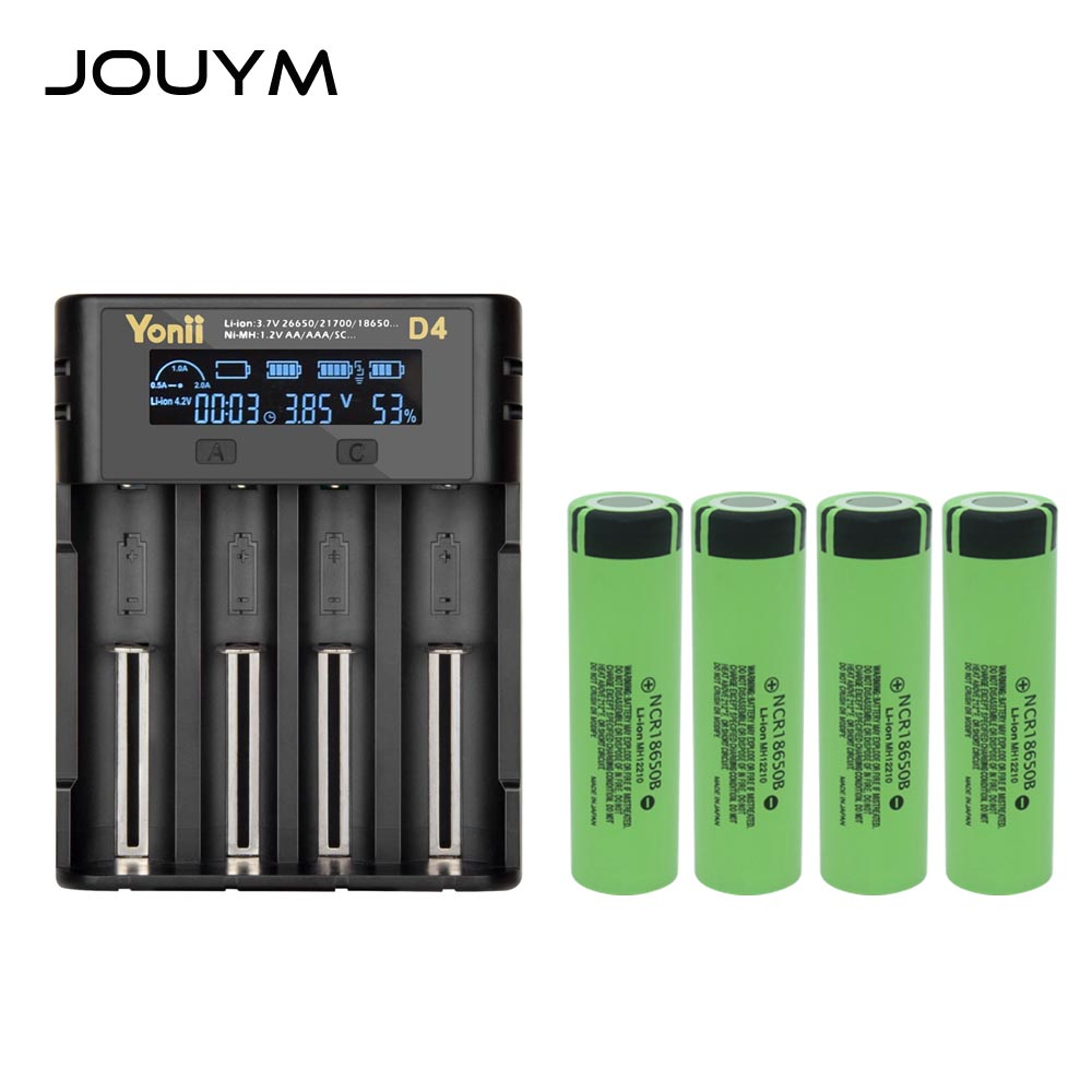 JOUYM 4/8 Pieces 18650 Battery With Battery Charger 3.7V 3400mAh NCR18650B Li-ion Lithium Rechargeable Batteries 18650 Cells