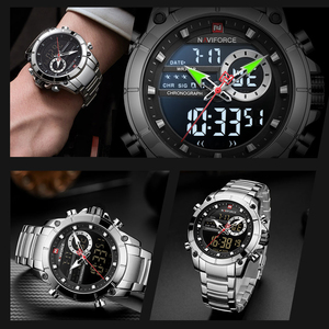 Image 2 - NAVIFORCE Silver Stainless Steel Men Army Military Dual Display Quartz Led Clock Male Waterproof Watches relogio masculino 9163