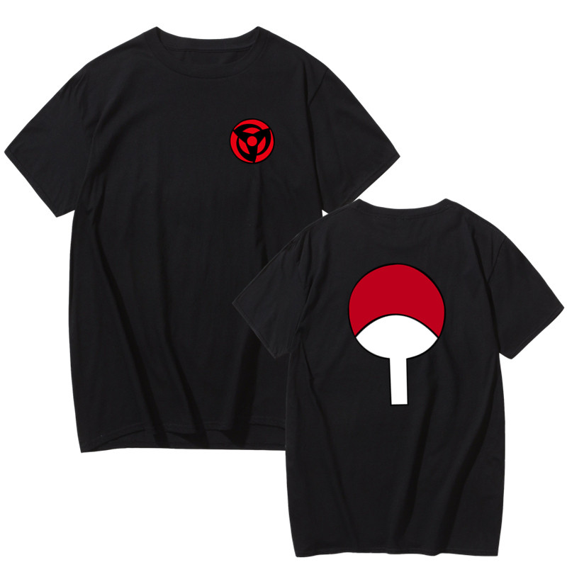 High Quality Anime Tees Naruto Uchiha Sasuke Family Badge T Shirt Men Shirt Brand Casual Streetwear Harajuku Fashion O-Neck 2019