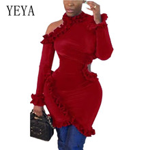 YEYA Women Red Blue Bodycon Mini Dress New Arrival Long Sleeve Hollow Out Ruffles Decoration Sexy Short Robe Femme