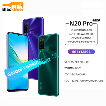 Купить DOOGEE N20 Pro смартфон с 5,5-дюймовым дисплеем, восьмиядерным процессором Helio P60, ОЗУ 6 ГБ, ПЗУ 6,3 ГБ, Android 10, 16 МП, 128 мАч