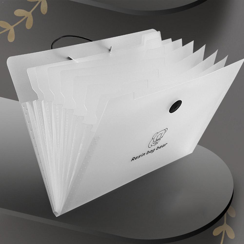 2020 PP Folder Horizontal 12 Grid Portable Bag Waterproof Multi-layer Student Document Organizer Test 24.5 32.5cm * Paper F T2Q3