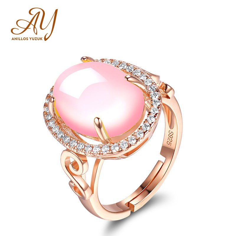 Hot Water Drop 925 Silver Jewelry Woman Ethnic Style Rose Lotus Inlay Engagement Hand Decorate Girl Gift Rose Quartz Ring