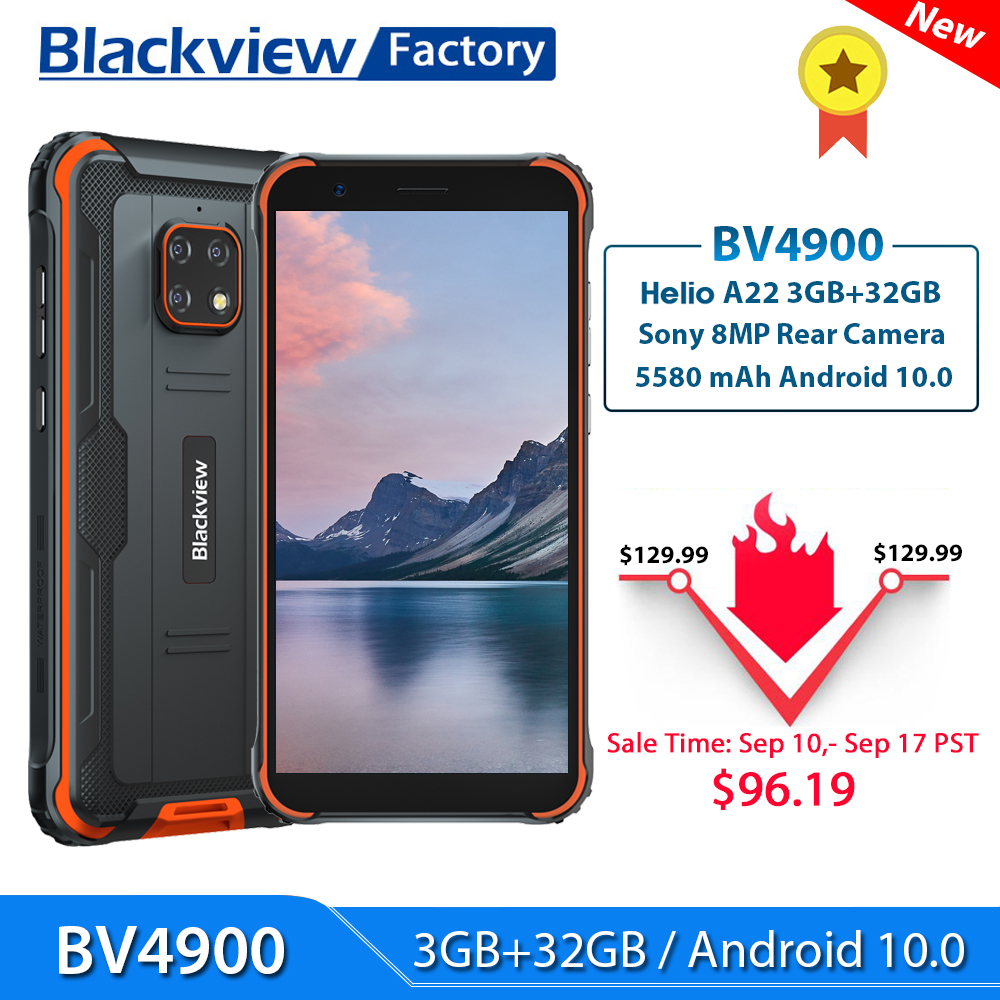 Blackview BV4900 Smartphone 3GB+32GB Android 10 IP68 Waterproof Mobile Phone 5580mAh 5.7'' NFC 4G LTE Rugged Cellphone(China)
