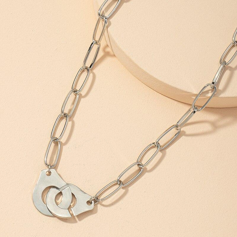 Neue mode design handschellen choker anhänger halskette kette frauen liebhaRSZ8