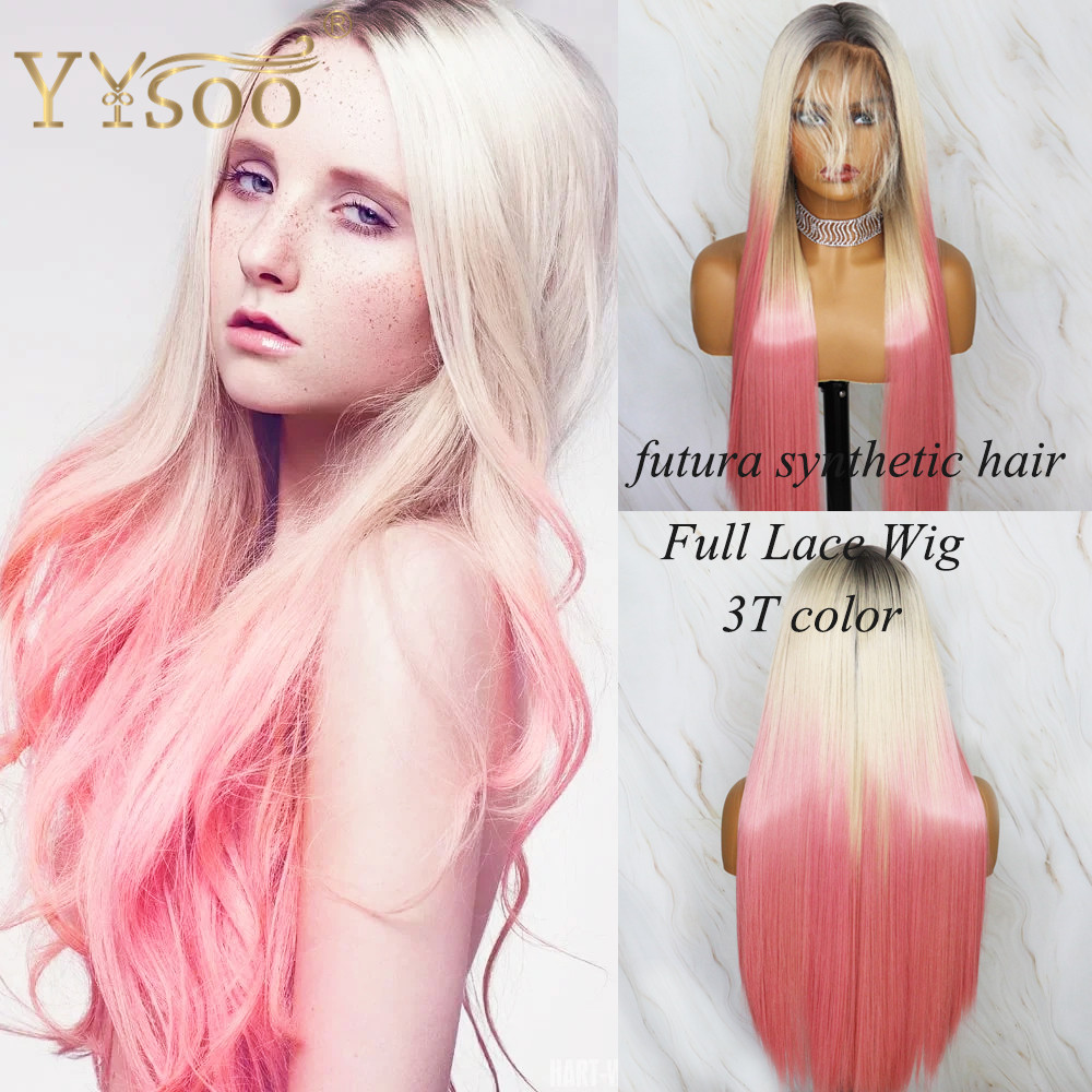 YYsoo3T Color Futura Synthetic Full Lace Wigs For Women Silky Straight High Ponytail Wig With BabyHair#1/613/Pink Ombre Lace Wig